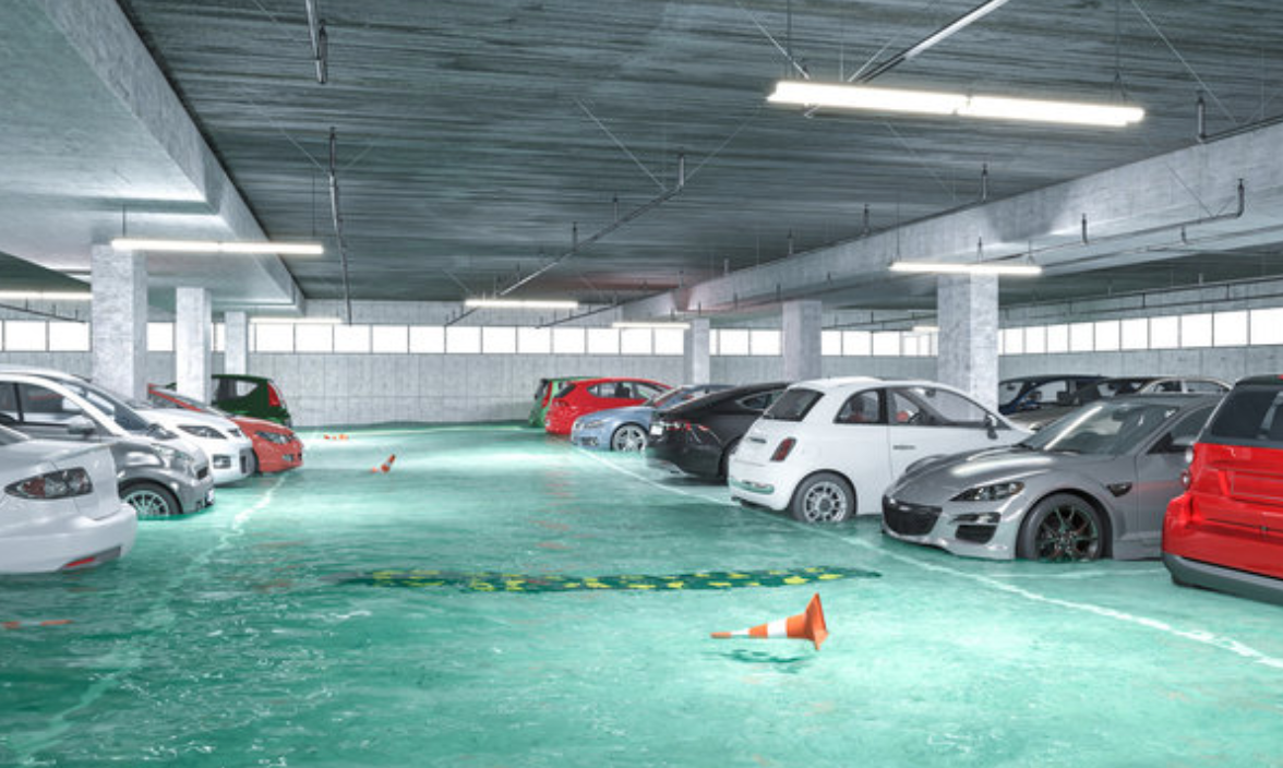 water damage underground garage
